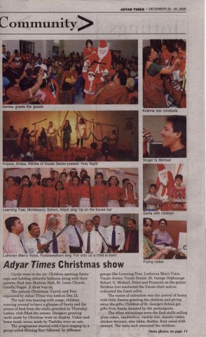 Adyar Times Carol Evening Dec 09